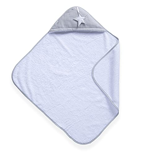Clair de Lune Silver Lining Cotton Hooded Baby Towel (White/Grey) from Clair de Lune