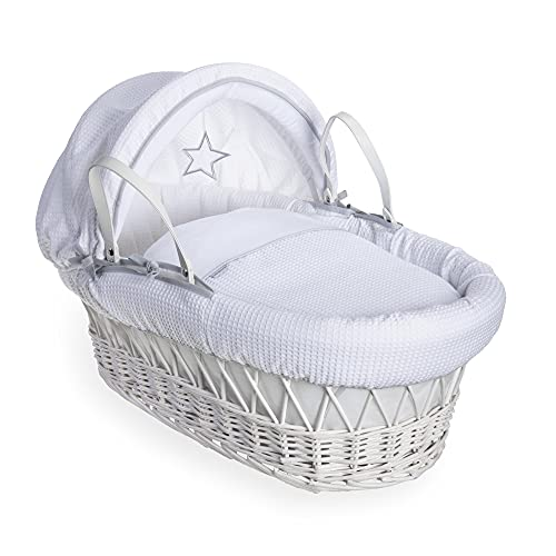 Clair de Lune Silver Lining White Wicker Basket inc. Bedding, Mattress & Adjustable Hood (White) from Clair de Lune