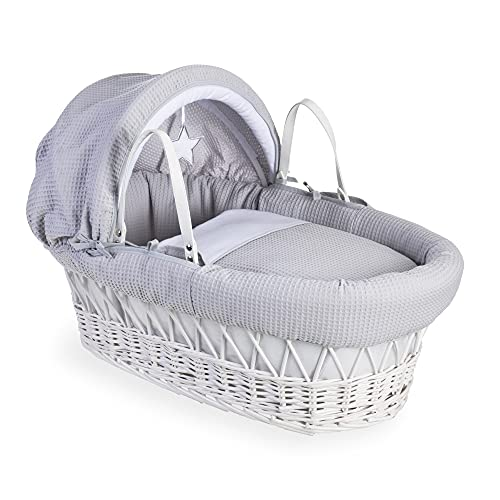 Clair de Lune Silver Lining White Wicker Moses Basket inc. bedding, mattress & adjustable hood  (Grey) from Clair de Lune