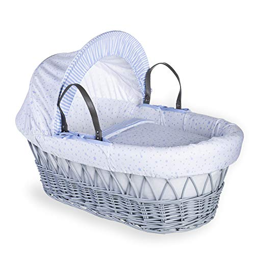 Clair de Lune Stars and Stripes Grey Wicker Moses Basket inc. bedding, mattress & adjustable hood (Blue) from Clair de Lune