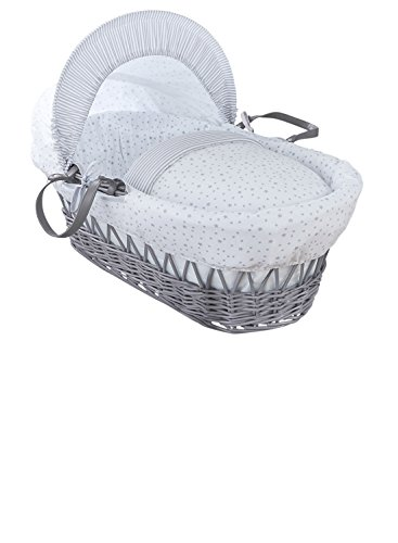 Clair de Lune Stars and Stripes Grey Wicker Moses Basket inc. bedding, mattress & adjustable hood (Grey) from Clair de Lune