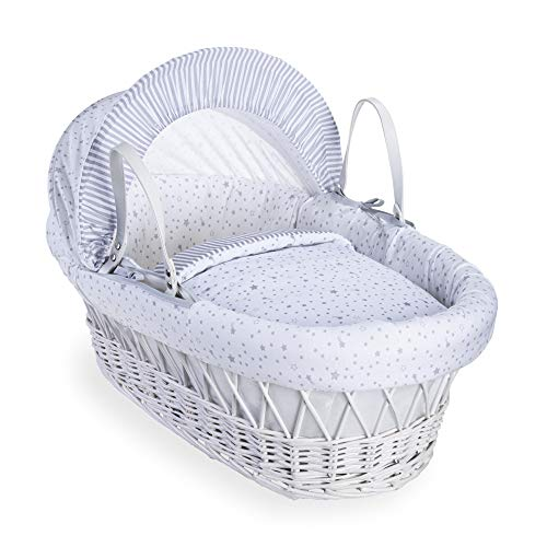 Clair de Lune Stars and Stripes White Wicker Moses Basket inc. bedding, mattress & adjustable hood (Grey) from Clair de Lune