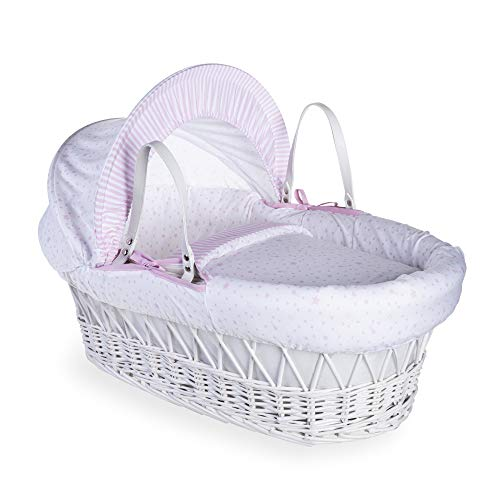 Clair de Lune Stars and Stripes White Wicker Moses Basket inc. bedding, mattress & adjustable hood (Pink) from Clair de Lune