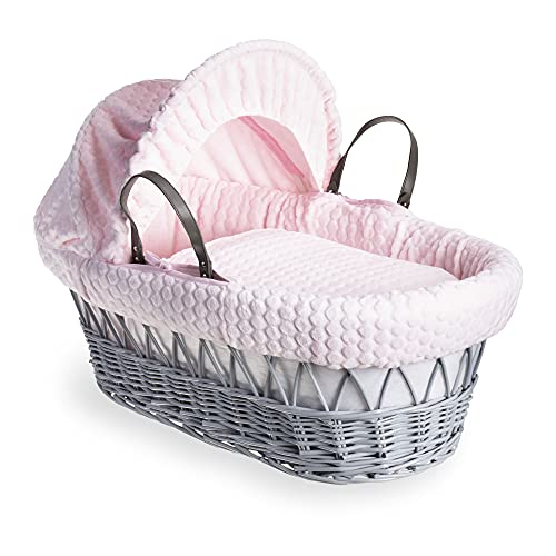 Clair de Lune Marshmallow Grey Wicker Moses Basket inc. bedding, mattress & adjustable hood  (Pink) from Clair de Lune