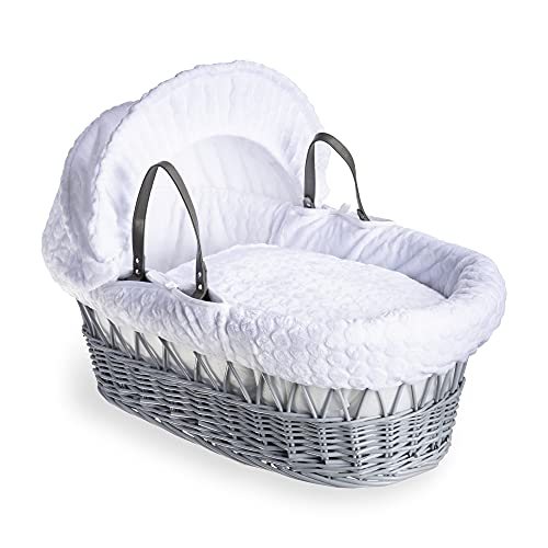 Clair de Lune Marshmallow Grey Wicker Moses Basket inc. bedding, mattress & adjustable hood (White) from Clair de Lune