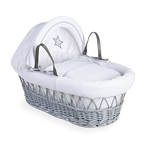 Clair de Lune Silver Lining Grey Wicker Moses Basket  inc. bedding, mattress & adjustable hood (White) from Clair de Lune