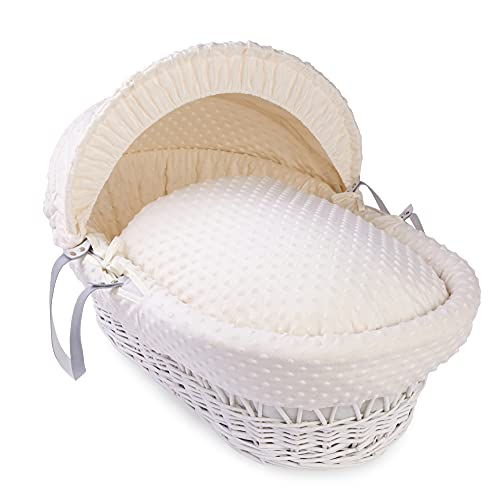 Dimple White Wicker Moses Basket - Cream from Clair de Lune