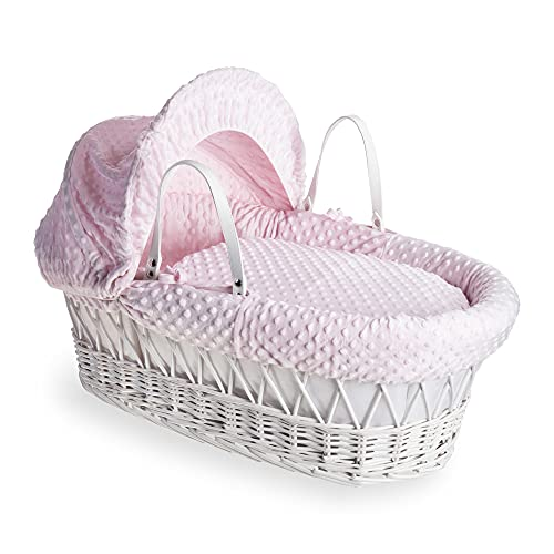 Dimple White Wicker Moses Basket - Pink from Clair de Lune