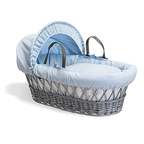 Waffle Grey Wicker Moses Basket - Blue from Clair de Lune