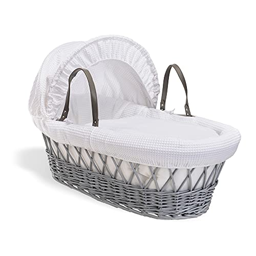 Waffle Grey Wicker Moses Basket - White from Clair de Lune