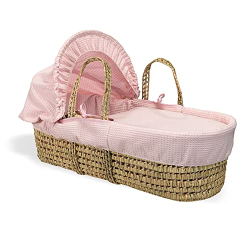 Waffle Palm Moses Basket - Pink from Clair de Lune