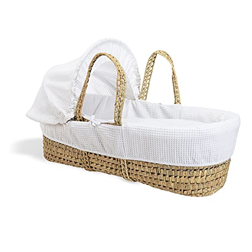 Waffle Palm Moses Basket - White from Clair de Lune