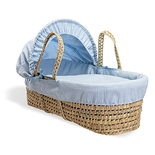 Waffle Palm Moses basket - Blue from Clair de Lune
