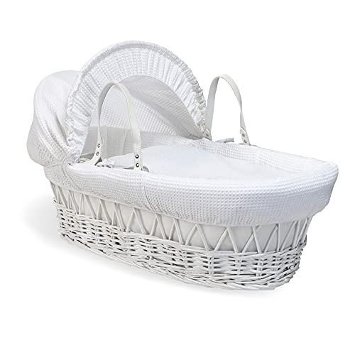 Waffle White Wicker Moses Basket - White from Clair de Lune