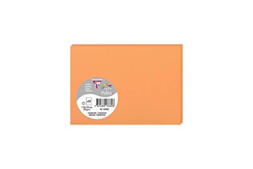 Clairefontaine Pollen Card, 110 x 155 mm, 210 g, Clementine Orange, Pack of 25 from Clairefontaine