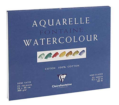 Clairefontaine Fontaine Semi Hot Pressed Watercolour Glued Pad, Glued 4 sides, 300 g, 24 x 30 cm, 25 Sheets from Clairefontaine