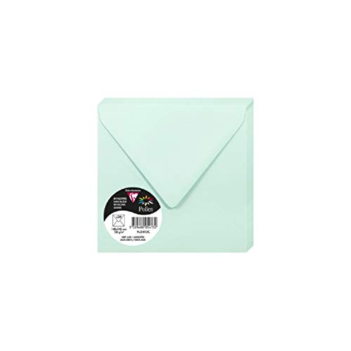 Clairefontaine Pollen Envelopes, 140 x 140 mm, 120 g - Jade Green, Pack of 20 from Clairefontaine