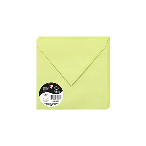Clairefontaine Pollen Envelopes, 165 x 165 mm, 120 g - Leaf Bud Green, Pack of 20 from Clairefontaine