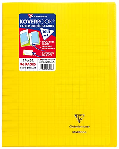 Clairefontaine 981406C 24 x 32 cm Koverbook Transparent Seyes Ruled Polypro Stapled Notebook - Yellow from Clairefontaine