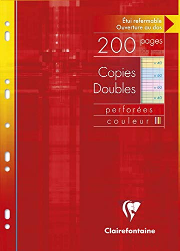 Clairefontaine Double Coloured Sheets, A4, Séyès ruling, 100 pages - Assorted Colours from Clairefontaine
