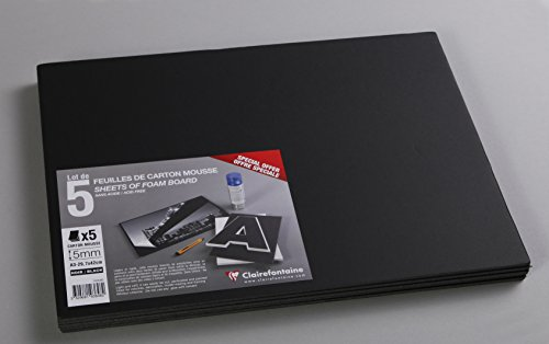 Clairefontaine A3 Foam Boards, 5 mm Thick, 5 Sheets, Black from Clairefontaine