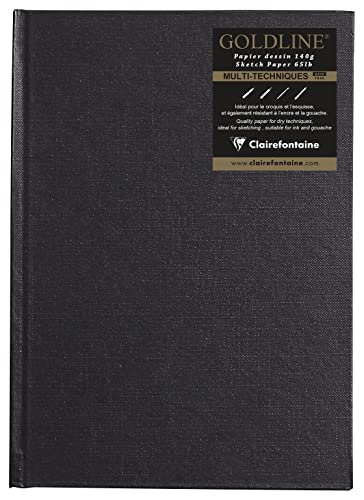 Clairefontaine Goldline Casebound Pad, A5, 140 g, Portrait, 64 White Sheets - Black Cover from Clairefontaine