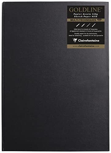 Clairefontaine Goldline Casebound Pad, A3, 140 g, Portrait, 64 White Sheets - Black Cover from Clairefontaine