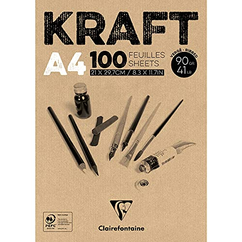 Clairefontaine Kraft Glued Pad, 90 g, A4, 100 Sheets from Clairefontaine