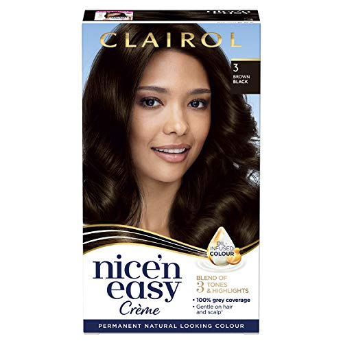 Clairol Nice'n Easy Crème, Natural Looking Oil Infused Permanent Hair Dye, 3 Brown Black from Clairol