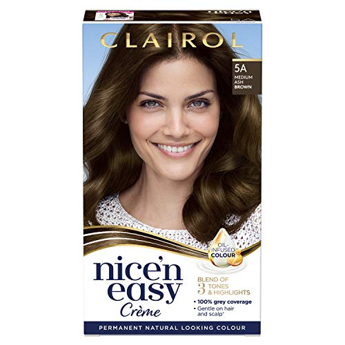 Clairol Nice'n Easy Crème, Natural Looking Oil Infused Permanent Hair Dye, 5A Medium Ash Brown from Clairol