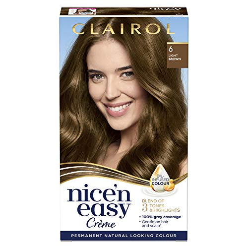 Clairol Nice'n Easy Crème, Natural Looking Oil Infused Permanent Hair Dye, 6 Light Brown from Clairol
