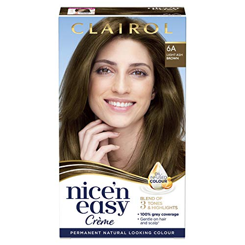 Clairol Nice'n Easy Crème, Natural Looking Oil Infused Permanent Hair Dye, 6A Light Ash Brown from Clairol