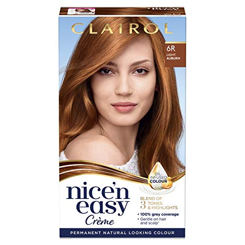 Clairol Nice'n Easy Crème, Natural Looking Oil Infused Permanent Hair Dye, 6R Light Auburn from Clairol