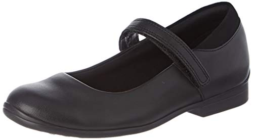 Clarks Girls' Jamie Star Ankle Strap Ballet Flats, Black Leather, 10.5 G UK Child from Clarks