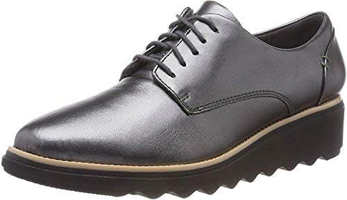 Clarks Women''s Sharon Noel Derbys, Silver (Gun Metal Lea), 5 UK 5 UK from Clarks