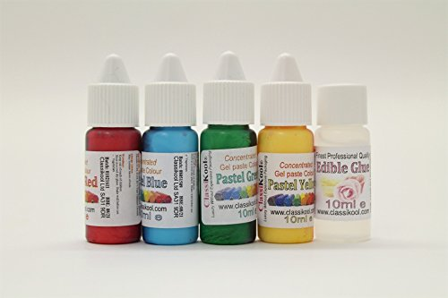 Classikool 10ml Food Colour Dye Set of 4 + 10ml Edible Glue Choice of Gel Paste or Droplet [*Free UK Post] (10ml Pastel Paste Colour Set) from Classikool