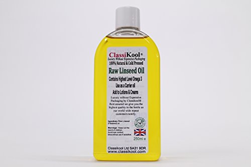 Classikool 250ml Food Grade & Cold Pressed, Raw Linseed (Flaxseed) Oil - Pharma EUR Grade from Classikool