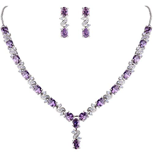 Clearine Women's Wedding Bridal Cubic Zirconia Infinity Y-Shape Necklace Dangle Earrings Set Amethyst Color Silver-Tone from Clearine