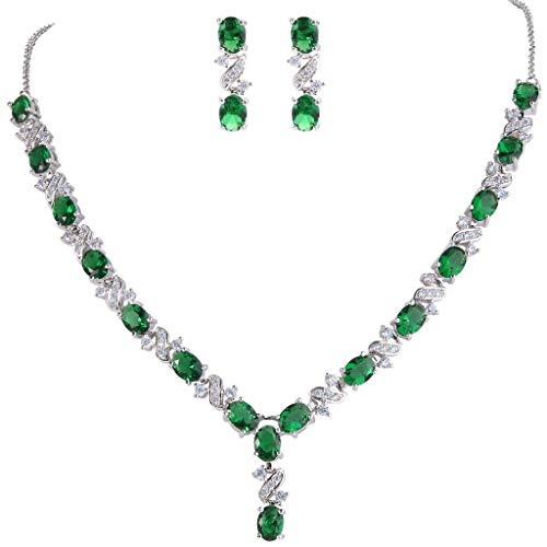 Clearine Women's Wedding Bridal Cubic Zirconia Infinity Y-Shape Necklace Dangle Earrings Set Emerald Color Silver-Tone from Clearine