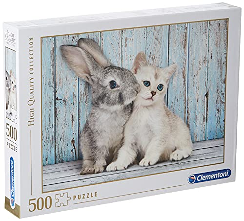 Clementoni 35004.9 Clementoni-35004-High Quality Collection-Cat and Bunny-500 Pieces, Multicolored from Clementoni