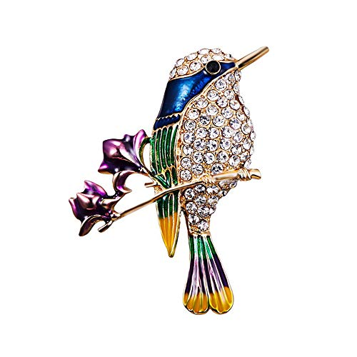 Clest F&H Branch Flower Bird Brooch Pin Rhinestones Clothing Jewelry from Clest F&H