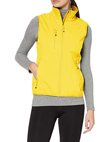 CliQue Women's Ladies Softshell Vest Gilet Plain Turtleneck Sleeveless Outdoot Gilet, Yellow, 14 (Manufacturer Size:XL) from CliQue
