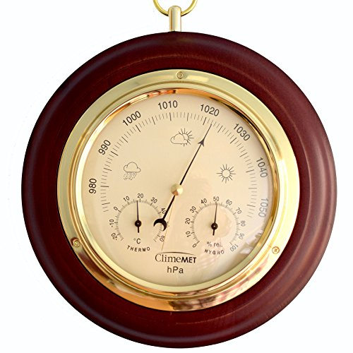 ClimeMET CM4012 Traditional Mahogany Combined Forecaster and Barometer Dial. from ClimeMET