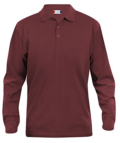 Mens pure cotton long sleeve polo shirt, classic cut, medium weight, 11 verdant colours, XS-5XL (XL, Burgundy) from Clique Clothing