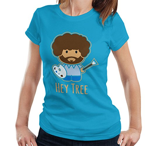Cloud City 7 Bob Ross Painting Hey Tree Women's T-Shirt Sapphire from Cloud City 7