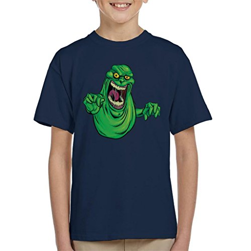 Cloud City 7 Ghostbusters Slimer Kid's T-Shirt Navy Blue from Cloud City 7