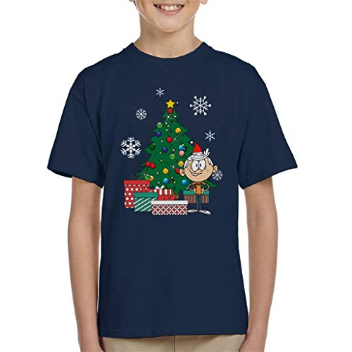 Cloud City 7 Lincoln Loud House Around The Christmas Tree Kid's T-Shirt Navy Blue from Cloud City 7
