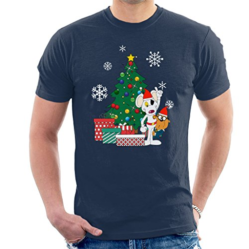 Danger Mouse and Penfold Around The Christmas Tree Men's T-Shirt Navy Blue from Cloud City 7