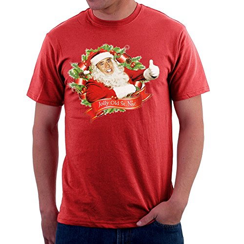 Nicolas Cage Christmas Jolly Old Saint Nic Men's T-Shirt Red from Cloud City 7