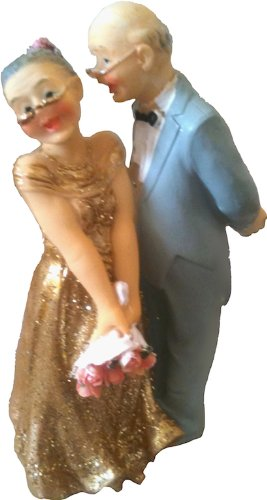 Bride and Groom Wedding Cake Topper - Gold 50th Anniversary from Club Green